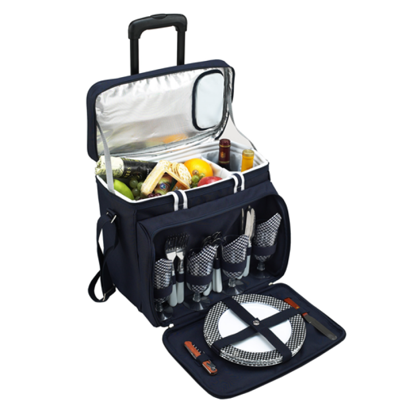 Picnic At Ascot Bold Picnic Cooler for 4 w Wheeled Cart