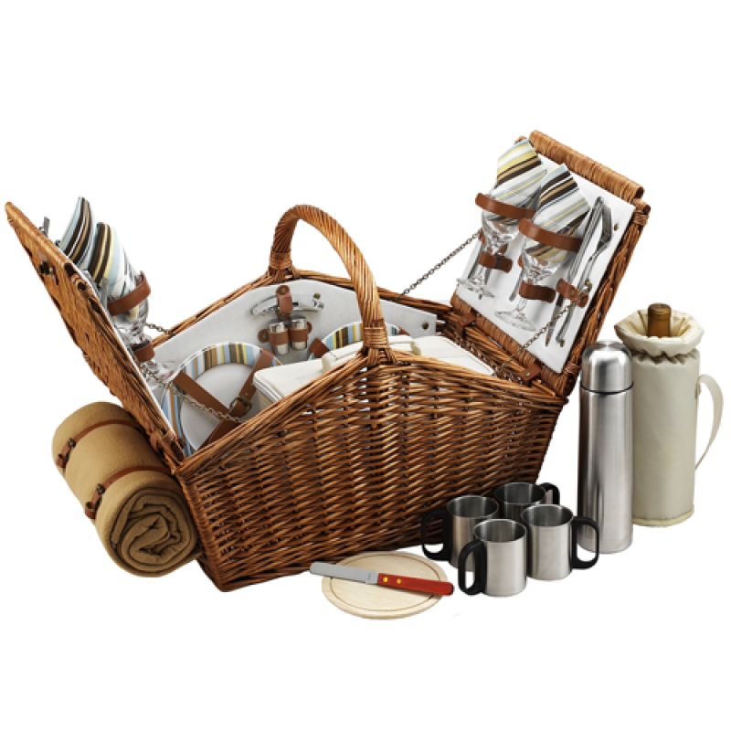 Picnic At Ascot Huntsman Picnic Basket for 4 w Coffee Set & Blanket Santa Cruz