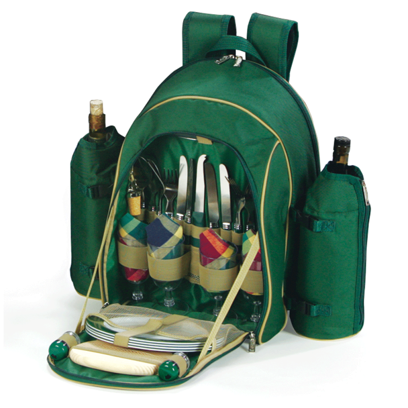 Picnic Plus Stratton Picnic Backpack for 4 Green