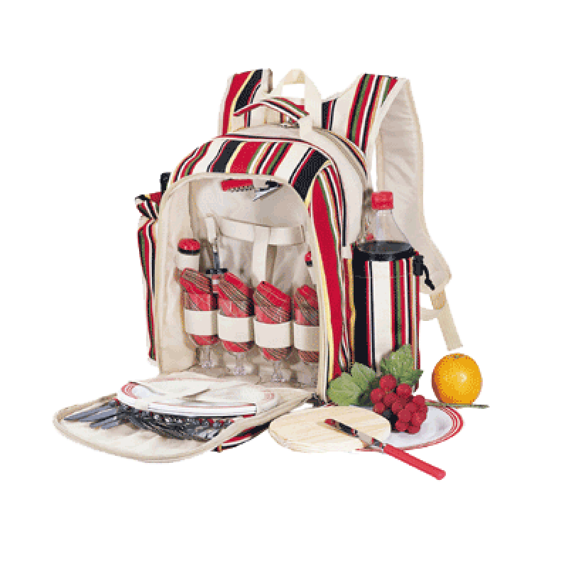 Sutherland Caribbean Stripe Picnic Backpack for 4