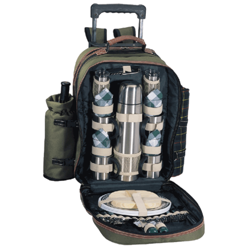 Sutherland Java Mountain Coffee/Wine Picnic Backpack w/Wheels