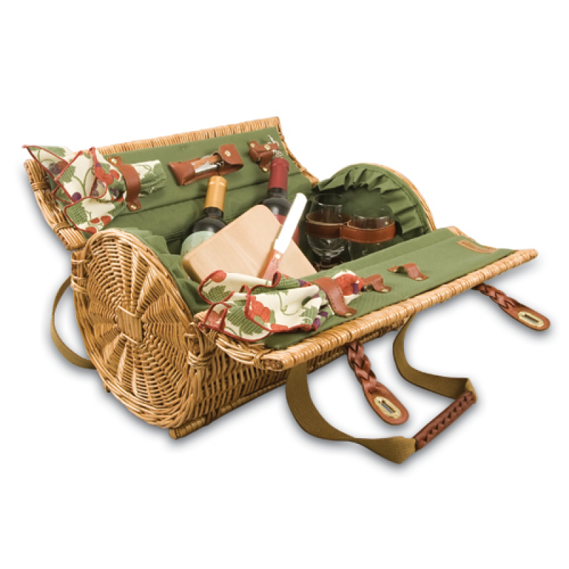 Picnic Time Verona Picnic Basket for 2 - Pine Green