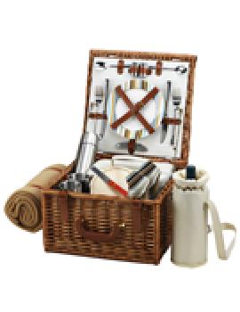 Picnic At Ascot Cheshire Picnic Basket for 2 w Coffee Set & Blanket Santa Cruz