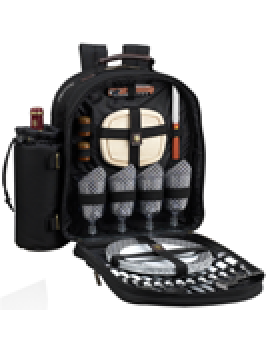 Picnic At Ascot Classic Picnic Backpack for 4 Black