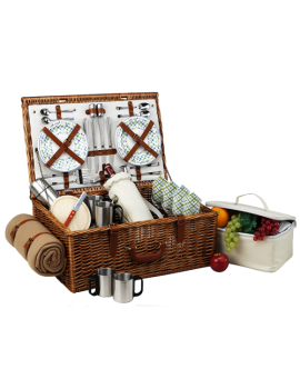 Picnic At Ascot Dorset Picnic Basket for 4 w Coffee Set & Blanket Gazebo