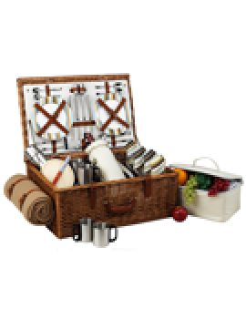Picnic At Ascot Dorset Picnic Basket for 4 w Coffee Set & Blanket Santa Cruz