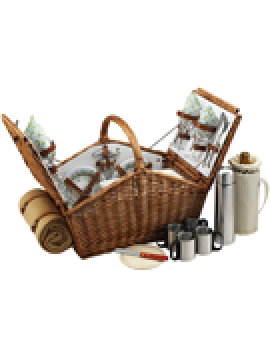 Picnic At Ascot Huntsman Picnic Basket for 4 w Coffee Set & Blanket Gazebo