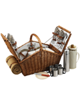 Picnic At Ascot Huntsman Picnic Basket for 4 w Coffee Set & Blanket London