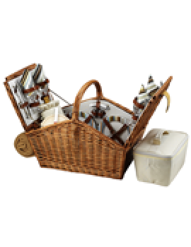 Picnic At Ascot Huntsman Picnic Basket for 4 w Blanket Santa Cruz