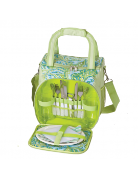 Picnic Plus Bailey Picnic Tote for 2 Green Paisley